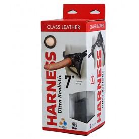 "Насадка-фаллоимитатор на кожаных трусиках Harness Ultra Realistic 7"" - 18 см."